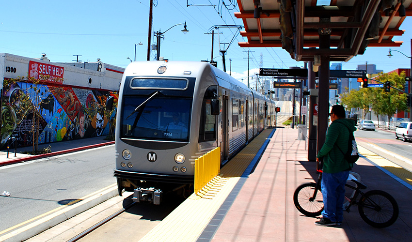 Expo Light Rail Train at Station