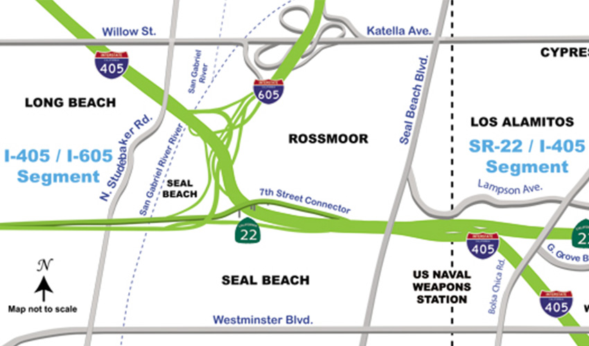 Map of 405 and 22 Freeways