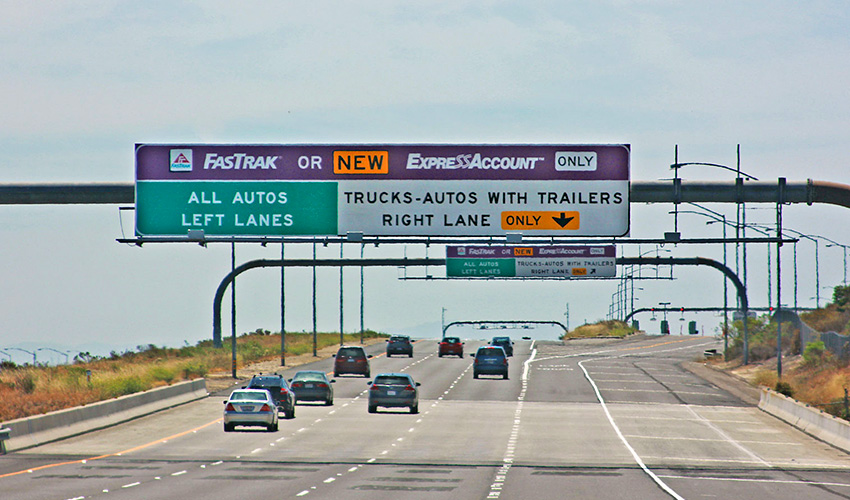 FastTrak Lanes on Freeway