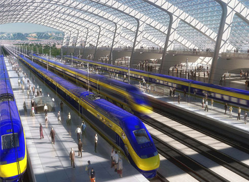 Mock up of California High-Speed Rail Project