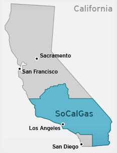 Map of SoCalGas region within California