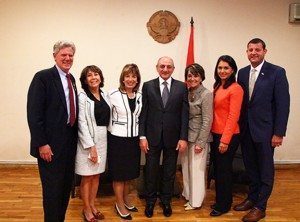 Pictured L - R are: Congressman Frank Pallone, Maria Mehranian, Congresswoman Jackie Speier, His Excellency Mr. Bako Sahakyan of the Artsakh Republic, Congresswoman Anna Eshoo, Congresswoman Tulsi Gabbard, and Congressman David Valadao.